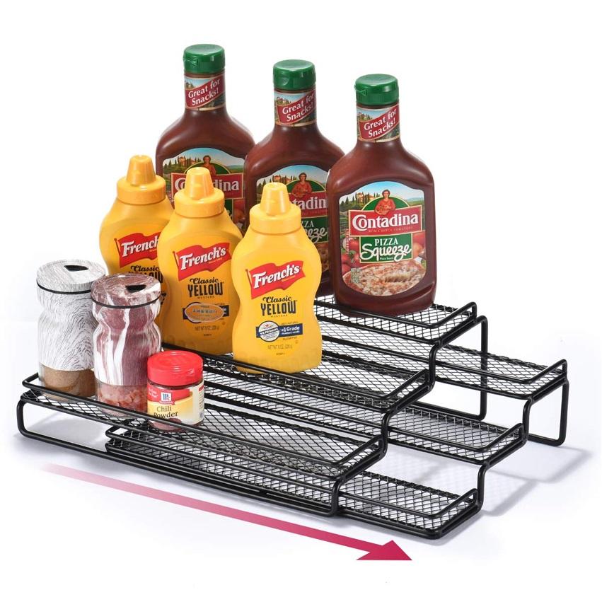 台面金属3层厨房香料架收纳盒可调节宽度