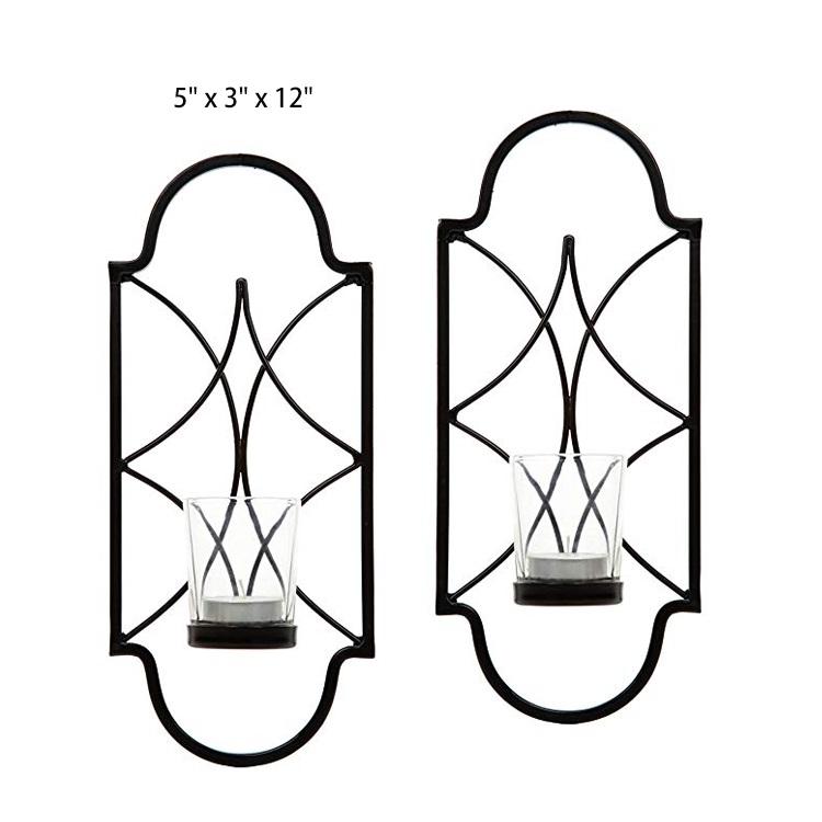 家用装饰艺术铁烛台壁挂式烛台,玻璃适用于婚礼,新娘,派对,灵气,水疗中心