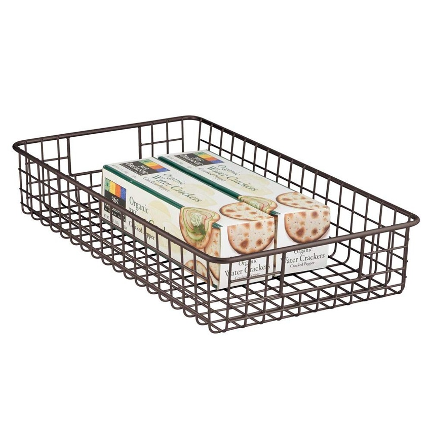 金属丝收纳盒水果篮,带手柄,用于厨柜,厨房,浴室,洗衣房,壁橱,车库