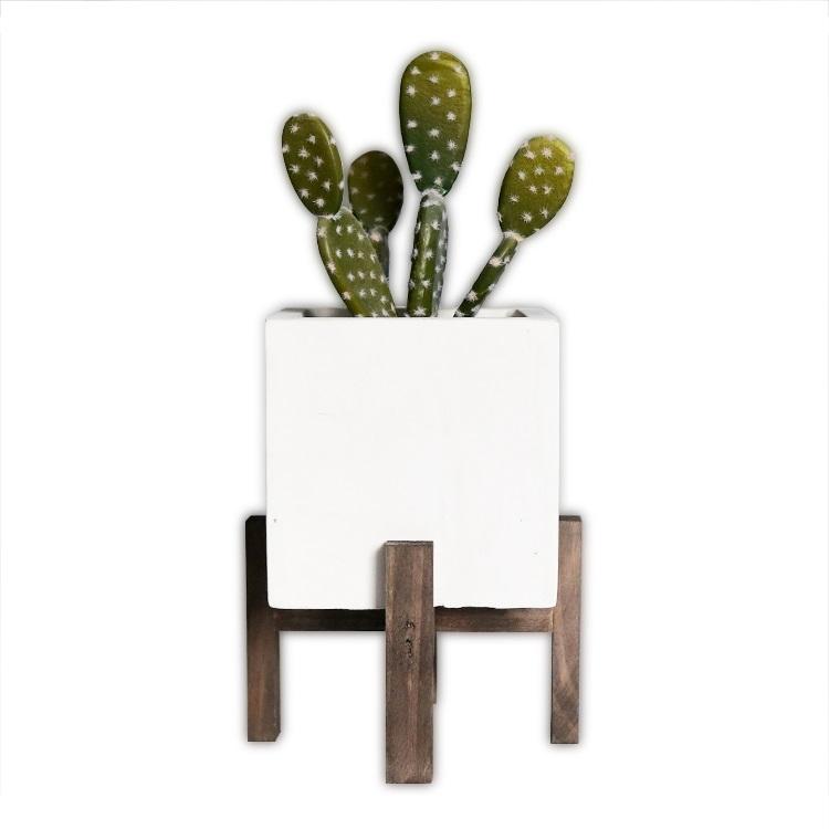 乡村风格的装饰水泥花坛花盆,用于植物,多肉植物,仙人掌木脚架