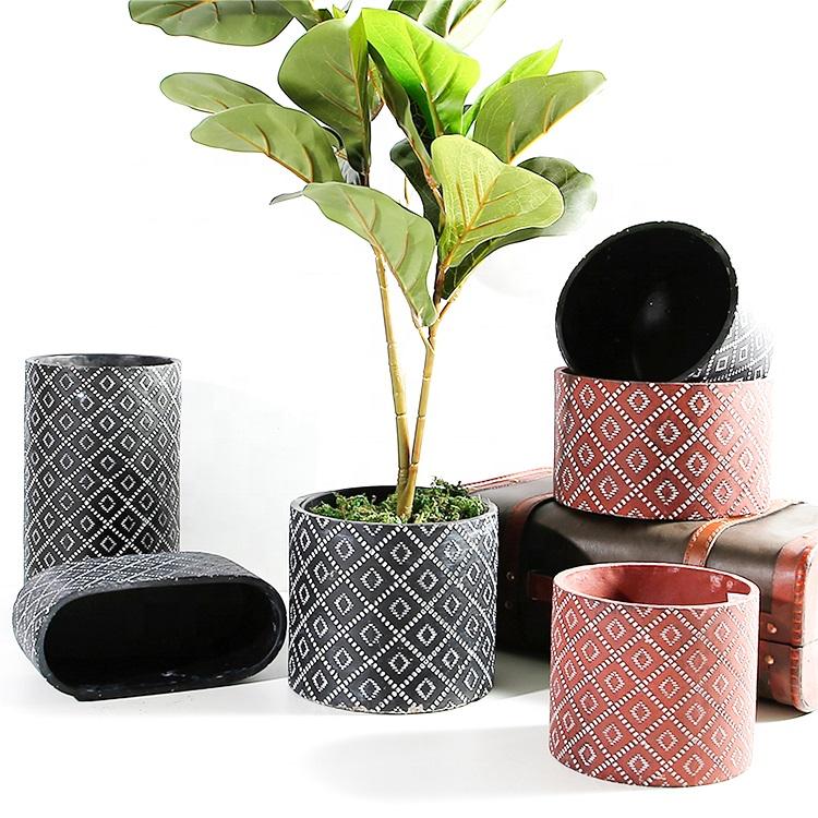 现代装饰水泥台花坛花盆,用于植物,多肉植物,仙人掌,花卉,草与图案