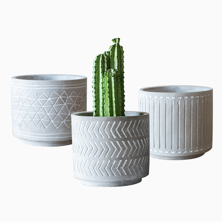 现代装饰水泥花坛花盆,用于植物,多肉植物,仙人掌,花卉,草与图案
