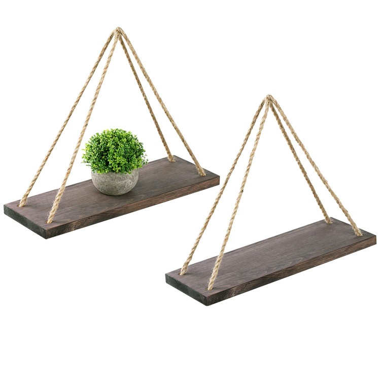 2件套黑色木制批发悬挂式仿古家用墙架,用于卧室,客厅,花盆