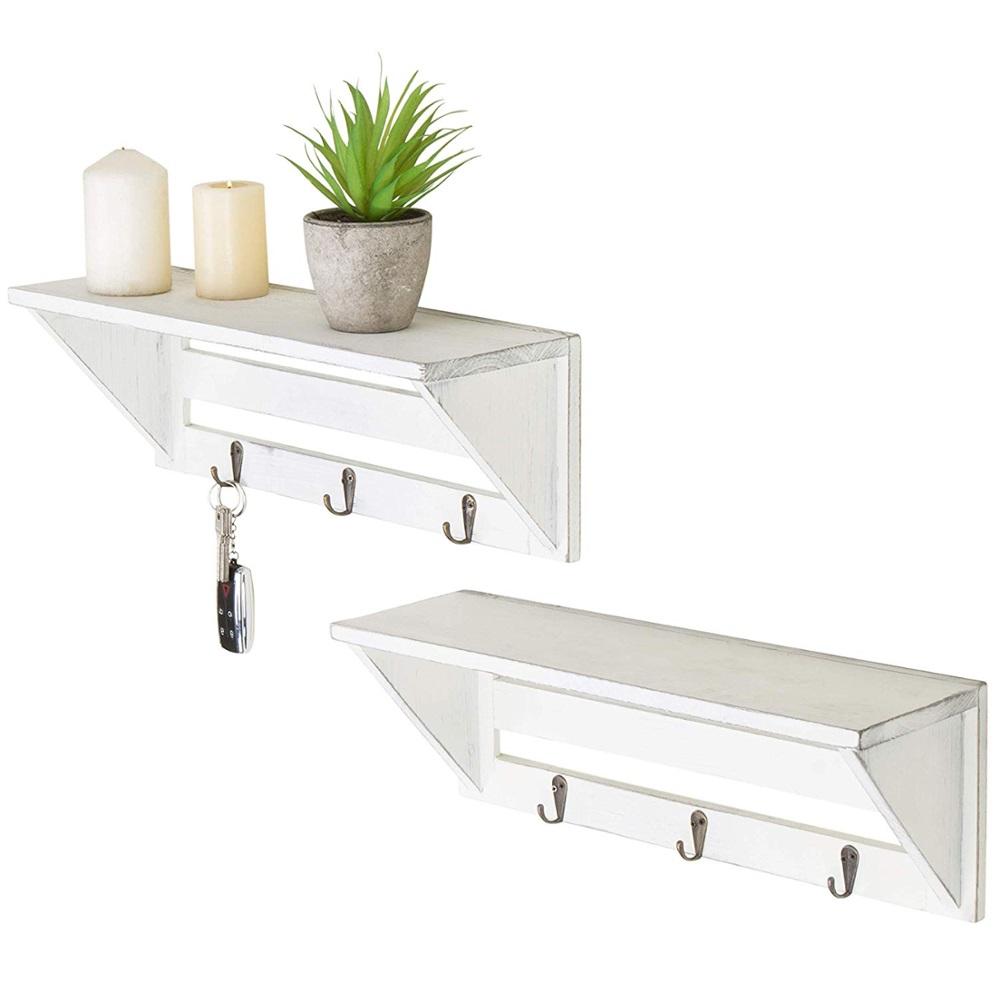 2件套白色木制批发悬挂式带挂钩的仿古家用墙架,用于卧室,客厅,植物盆