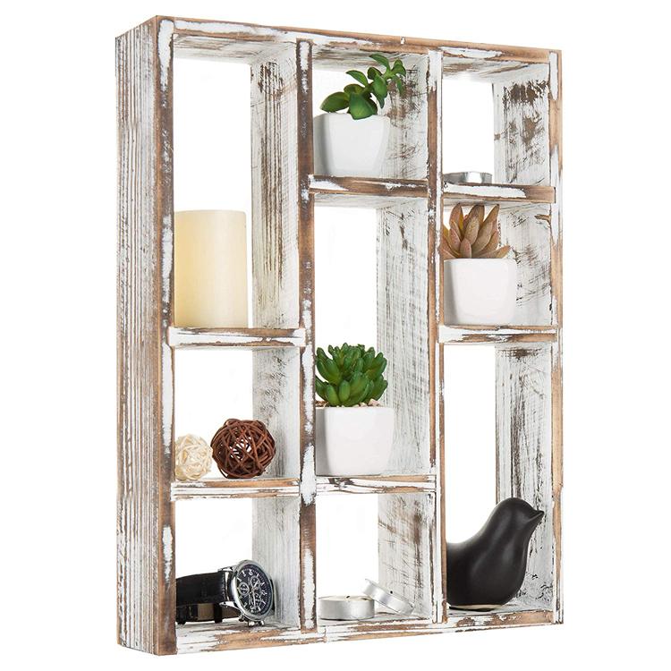 白色原木批发悬挂式仿古家用墙架,用于卧室,客厅,花盆