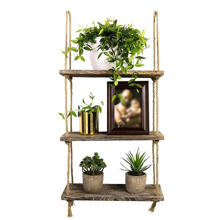 木制批发悬挂式仿古家用墙架,用于卧室,客厅,花盆