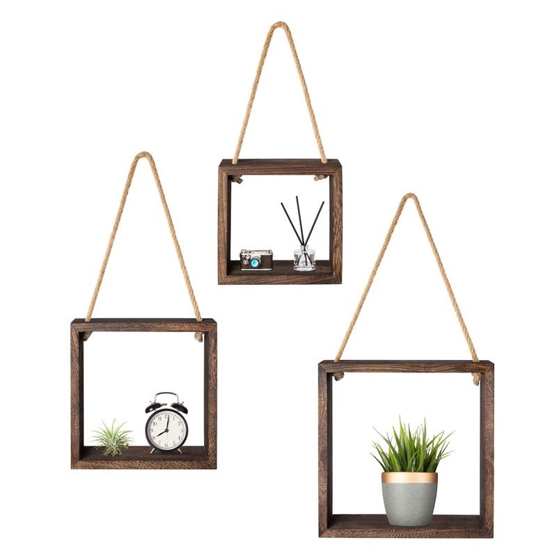 木批发悬挂式墙仿古架3件套,用于卧室,客厅,植物盆