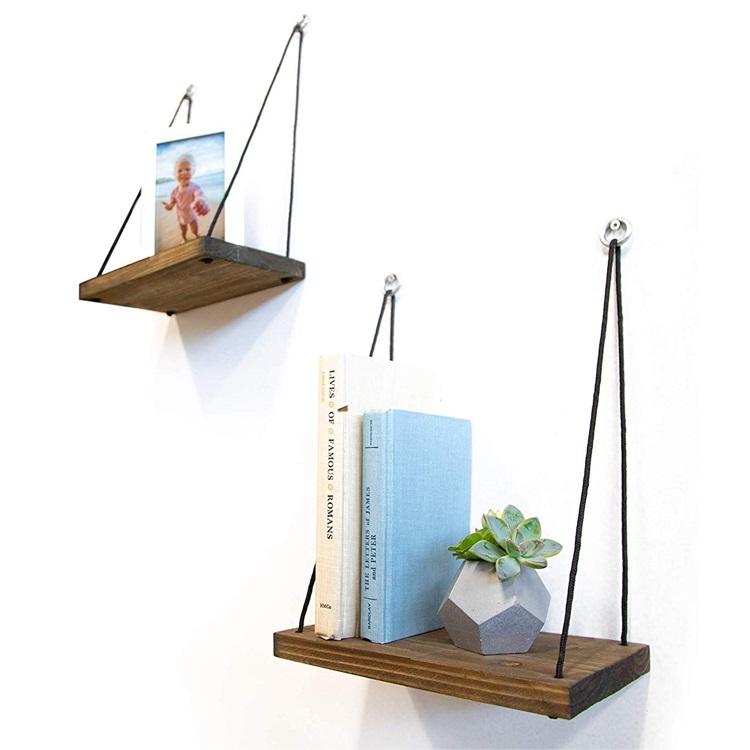 木材批发悬挂式墙壁仿古架2件套,用于卧室,客厅,植物盆